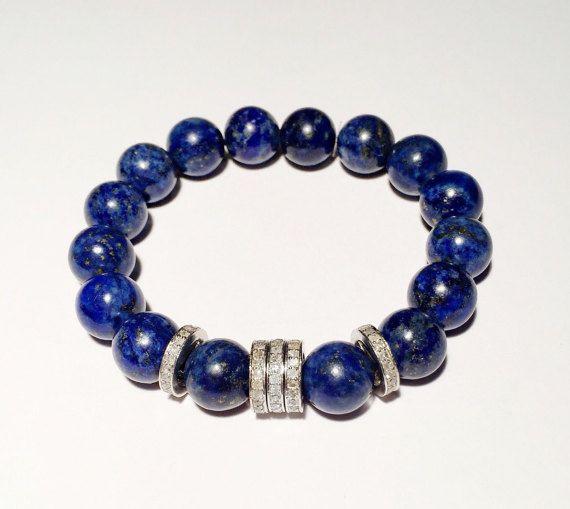1,1 ct Diamond and Lapis bracelet, Blue bracelet with diamond, Beaded diamond bracelet with blue stone, FREE SHIPPING
