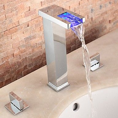 Two Handles LED Hydroelectric Widespread Waterfall Sink Tap - LED Waterfall Tap - LED Taps http://www.plumpinguk.co.uk/two-handles-led-hydroelectric-widespread-waterfall-sink-tap.html