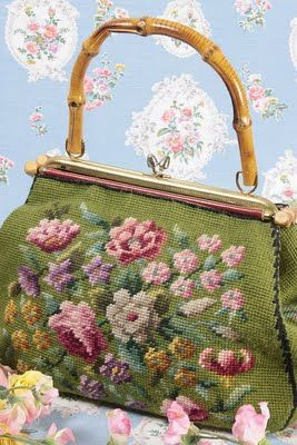 I have one very nearly like this pretty vintage handbag - embroidery/needlepoint with cane handle