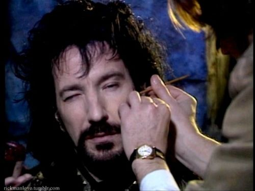 Alan Rickman having his makeup done for 'Robin Hood: Prince of Thieves'