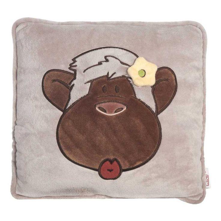 Nici peluches online. Cojín Nici mono amor cuadrado. Suavidad al tacto detalles cuidados y original diseño. Alta calidad en los materiales. Medidas 32x32x10 cm.