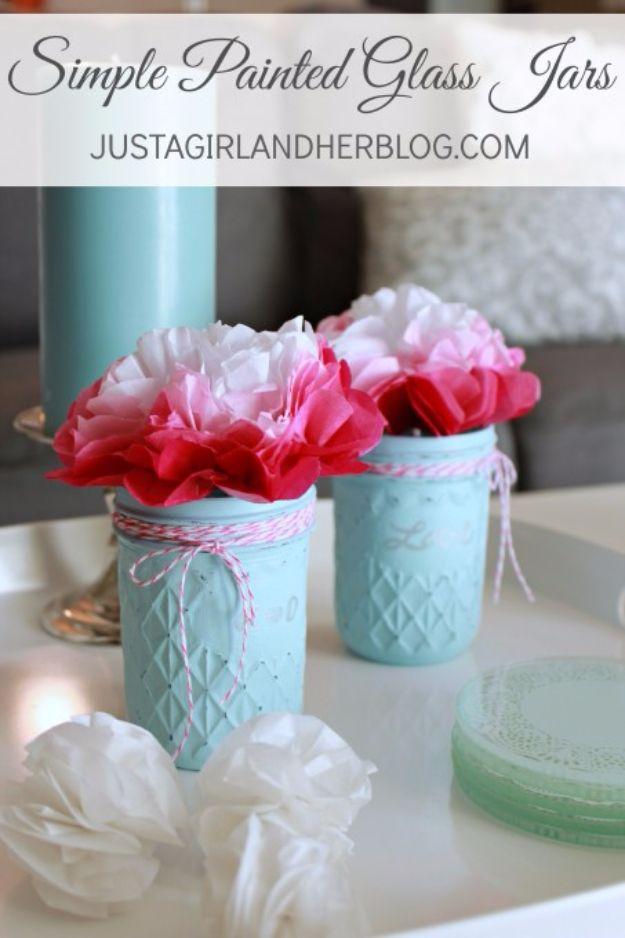 Best DIY Valentines Day Gifts – Simple Painted Glass Jars – Cute Mason Jar Valen…
