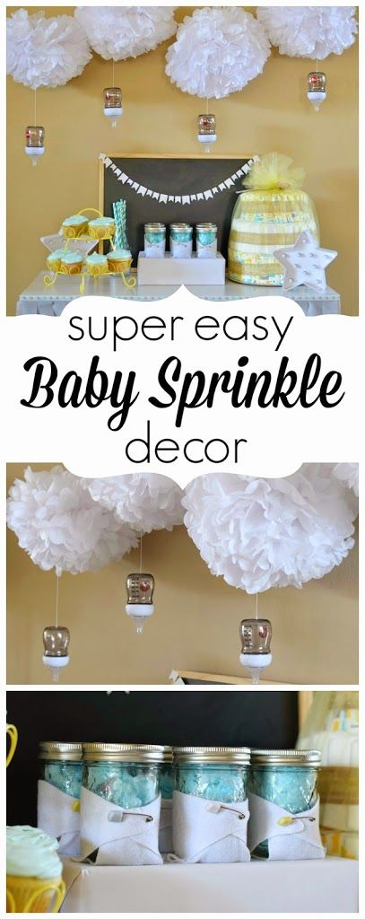 Great tips on easy DIY baby sprinkle decor featuring clouds and baby bottle raindrops. Perfect for a baby sprinkle on a budget.