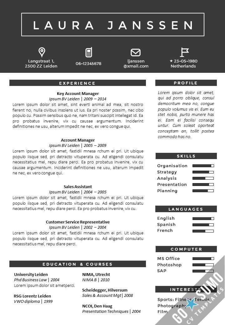 52 best Go Sumo CV templates Resume Curriculum Vitae design - size font for resume