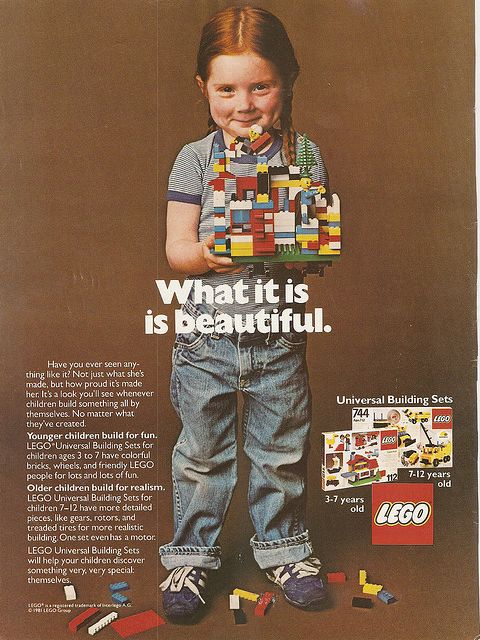 Lego 1981. Love this ad. Before girls were told that every single last thing in their life needed to be pink, and that their only option was to be a housekeeper or a princess.