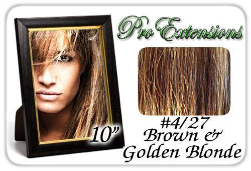 "10"" Inch #4/27 Brown w/ Golden Blonde Highlights Pro Extensions Human Hair Extensions by Brybelly.com. $44.99. Increase length and fullness.. 10"" x 39"" clip in hair extensions.. Beautiful Hair In Seconds.. 100% human hair. No synthetic material.. Clips On To Existing Hair.. This Pro Extensions clip in hair extension set is Colored #4/27 Brown w/ Blonde Highlights. Pro Extensions are 100% human hair extensions. This set of hair extensions is 10"" long and 39"" wide. ..."