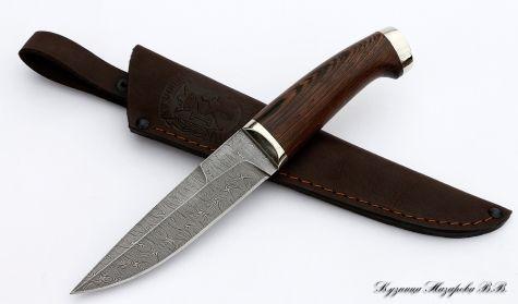 Нож Акула: сталь дамасск, мельхиор,венге ― Кузница Назарова В.В.