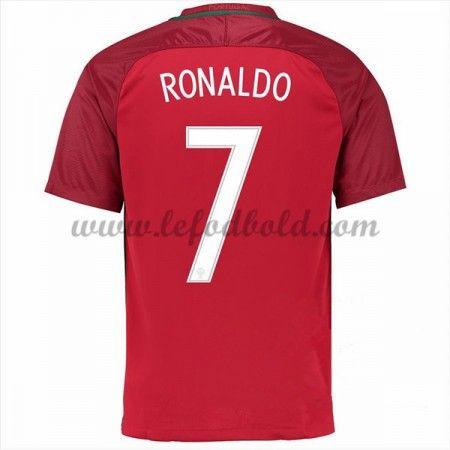 Billige Fodboldtrøjer Portugal 2016 Landsholdstrøjer Cristiano Ronaldo 7 Kortærmet Hjemmebanetrøje