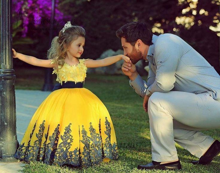 Aliexpress.com: Comprar Amarillo belleza encaje Pageant vestidos para niñas Vestido De bola Vestido De Daminha Flower Girl Dress niños Vestido De fiesta 2016 de vestido de la franja fiable proveedores en Kiss Me Wedding Dress Store