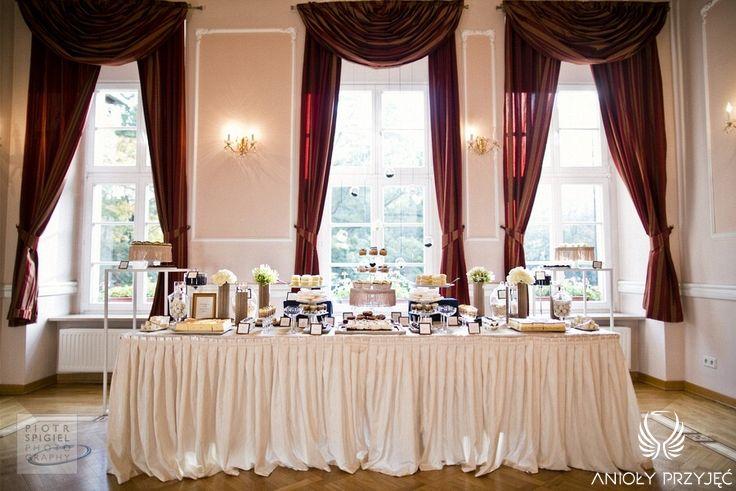 10. Platinum Gold Wedding, Sweet buffet, Sweet buffet decoration / Platynowo złote wesele, Słodki bufet, Anioły Przyjęć