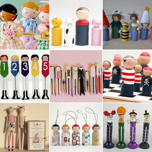 Handpainted Wooden Clothespin And Peg Dolls