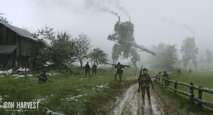 """Iron Harvest: 1920+"" RTS game illustrations by Jakub Rozalski (Mr. Werewolf) ""Bizarre Paintings Of Mecha Robots And Werewolves Attacking East European Peasants Of The Early 20th Century"" ""alternate history WWI"" http://iron-harvest.com/"