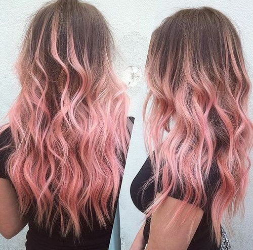 brown hair with pastel pink ombre highlights