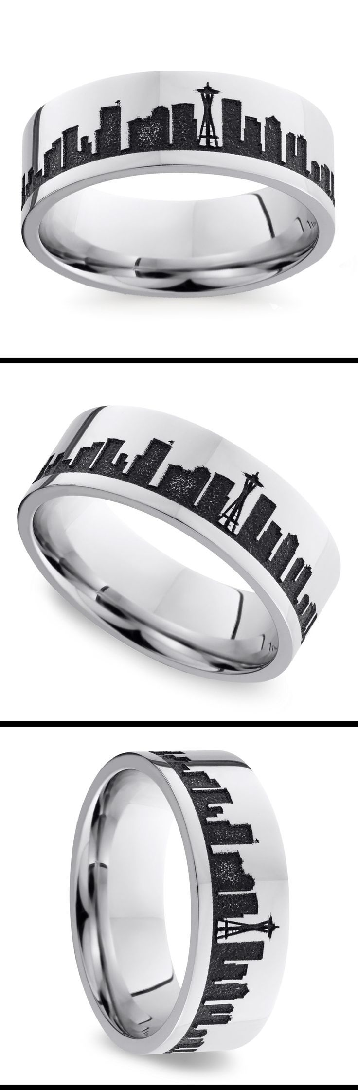 Rock your love of the Emerald City with this 8 mm cobalt men's wedding band featuring the Seattle skyline.