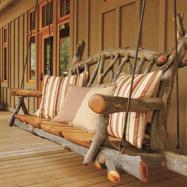 Tree Wiz - Phoenix Home & Garden - This rustic porch swing, made of alligator juniper, displays the sculptural quality of the wood; exposed knots and edges enhance the design.