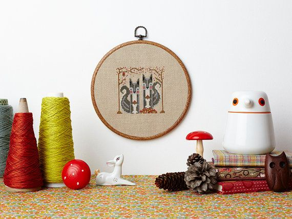 Secret Squirrels modern counted crossstitch by FoxYouAreSoCrafty