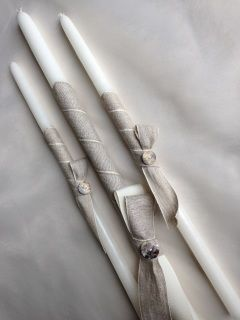 """wrapped in linen ribbon with abalone shell buttons boys candle set includes one 21"""" lambatha and two 17"""" candles   the candles are used for the sacrament of baptism in the Eastern Orthodox churches, including Greek, Bulgarian, Serbian, Russian, Ukrainian, Antiochian and Romanian"""