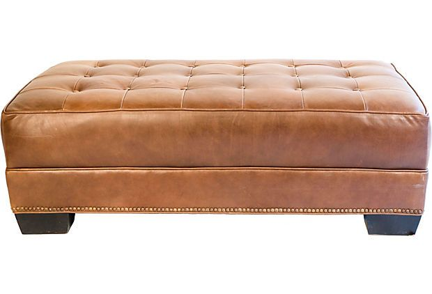FR/Guest Room ...Something like this to be placed in front of sofa/sleeper.....good for seating and/or used with a large tray for more of a table....Tufted Leather Ottoman Something like this $400-$1000 (with storage)