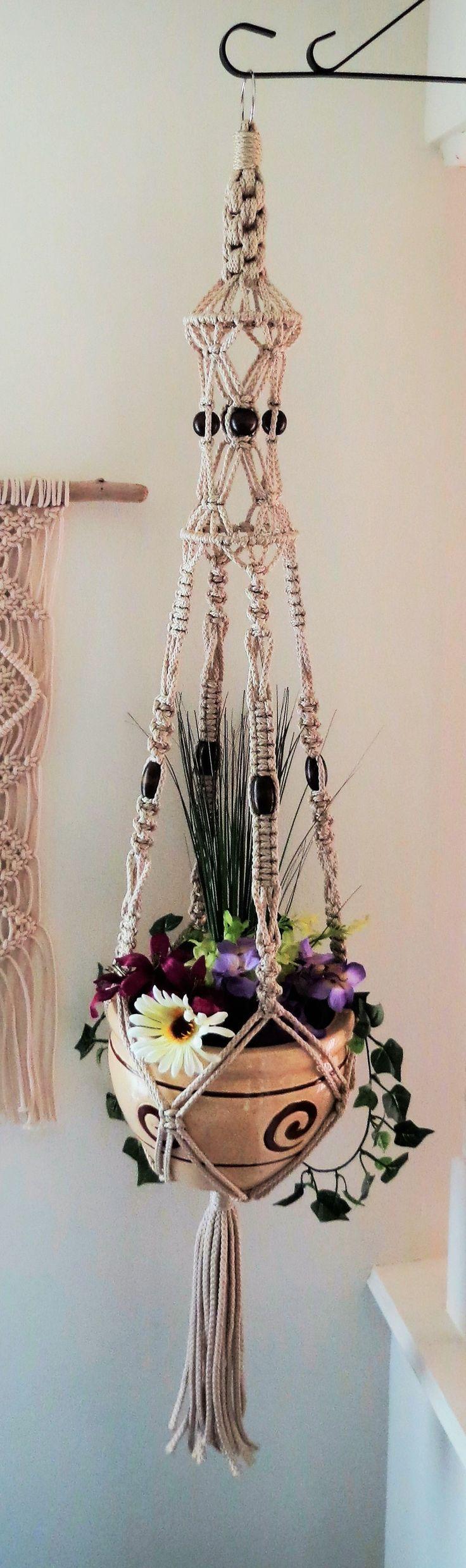 "Macrame hanging planter, birdcage, macrame plant hanger, 52"" PEARL, macrame pot…"