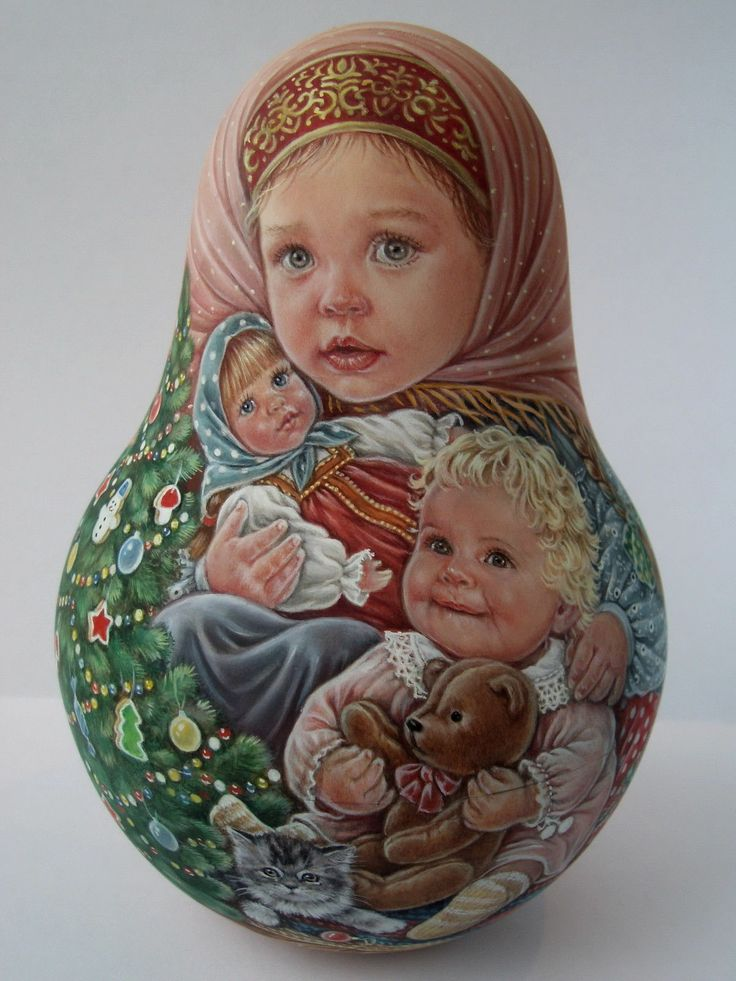Russian hand painted tilting dolls not nesting Like a vintage Artist Usachova | eBay