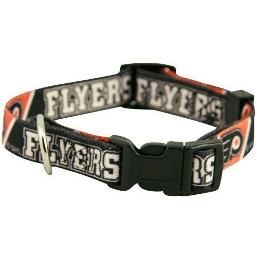 "NHL Philadelphia Flyers Black Pet Collar by Hunter. $11.95. Philadelphia Flyers Black Pet CollarScreen print graphicsNeck size 18""-26""Officially licensed NHL productTeam logo and colorsAdjustable buckle strapMetal loop for leashImportedTeam logo and colorsScreen print graphicsAdjustable buckle strapMetal loop for leashNeck size 18""-26""ImportedOfficially licensed NHL product"