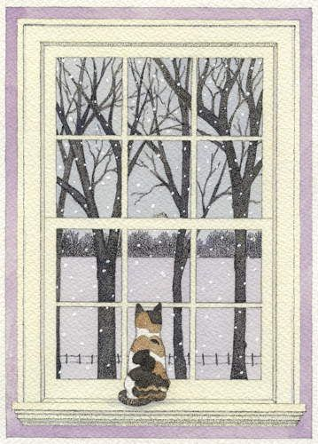 First Snow - Ink and watercolor painting by Carrie Wild