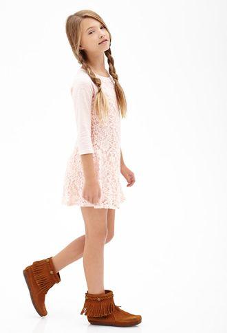 Floral Lace Raglan Dress (Kids) | Forever 21 girls - 2000102211