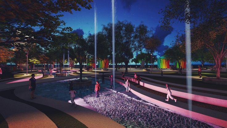taman tirta keplaksari, desain taman yang bertema air sebagai pusat aktivitas. Taman ini berada di Jombang. konsep dasar air sebagai sarana penyucian sesuai dengan karakter jombang beriman