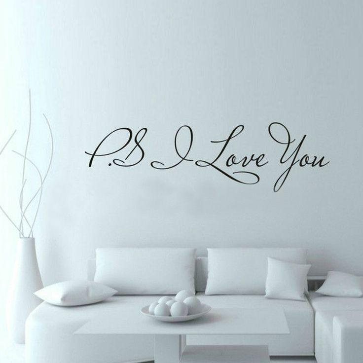 PS I Love You Wall Quote Decal //Price: $ 9.95 & FREE shipping //  #interiordesign #interior #walldecal #wallsticker #wallstickermurah #decor #walldecor #walldecals #homedecor #wallart #design #decor #wallstargraphics
