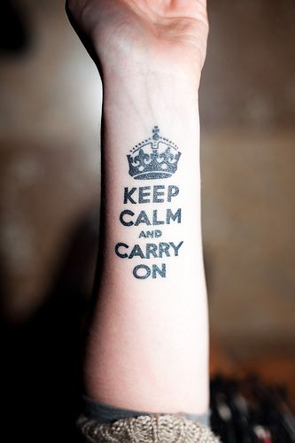 Keep Calm And Carry On   http://www.tattooesque.com/wp-content/uploads/2014/03/Keep-Calm-And-Carry-On.jpg http://www.tattooesque.com/calm-carry/ #ArmTattoos, #BlackGreyTattoo