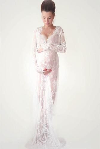 CCO03-Long Sleeve Lace Maternity Dress Photo Shoot Prop (Multiple Sizes and Colors Available) - Backdrop Outlet