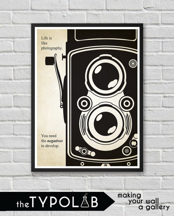 Motivational Quote Life is Like Photography/ by theTypolab on Etsy