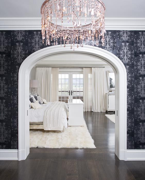 : Interior Design, Pink Chandelier, Idea, Dream House, Chandeliers, Wallpaper, White Bedrooms, Master Bedrooms