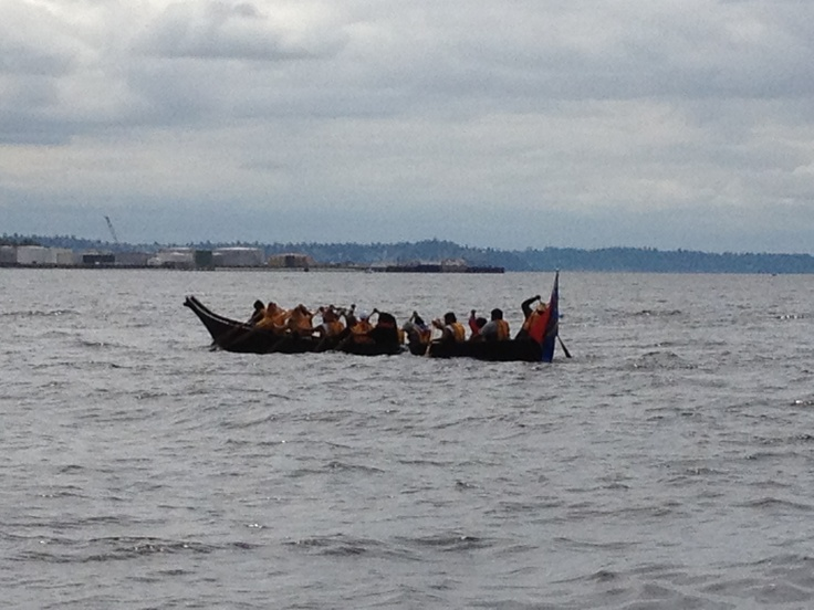 A canoe leaves from Tulalip to make the journey to Squaxin Island as part of the 24th Annual  Canoe Journey.