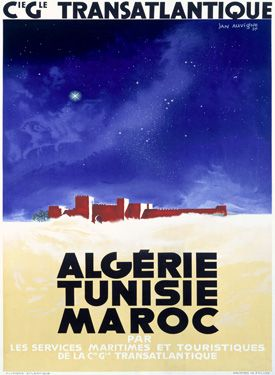vintage poster for travel to Morocco via the French Moroccan airline, 'Transatlantique'
