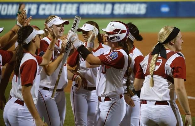Oklahoma's Caleigh Clifton celebrates after scoring in the third inning of a Women's College World Series softball game between the University of Oklahoma (OU) Sooners and Baylor at ASA Hall of Fame Stadium in Oklahoma City, Thursday, June 1, 2017. Photo by Bryan Terry, The Oklahoman