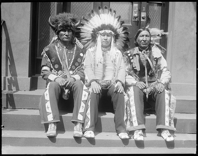 Three Sioux Indians - Left to Right - Sitting Bull, Crazy Bull or (UM Jacobs), Eagle Shirt fought against Custer, Boston, Mass. 1928 (photo by Leslie Jones)