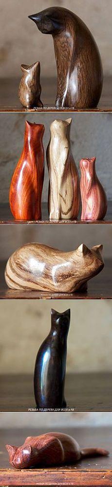 Котики в стили минимализма от резчика Пьера Ланкастера. Ничего лишнего, только всем известные силуэты и контуры да текстура и цвет древесины.  #woodcarving