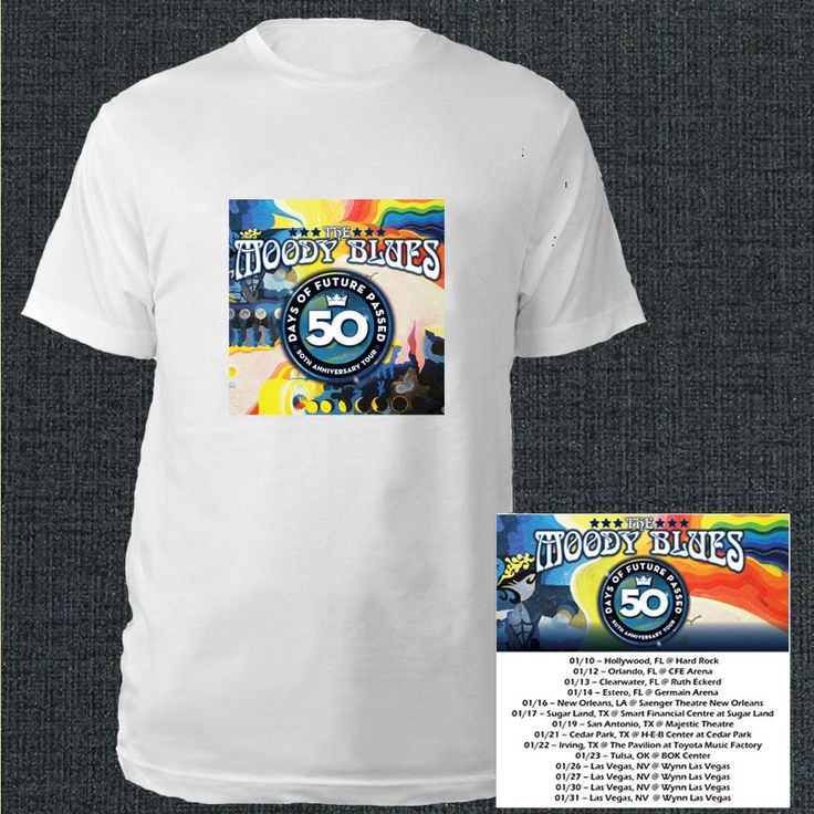 The Moody Blues 50th anniversary tour dates jan 2018 white tees; Material 100% cotton, Basic style; Short sleeve;