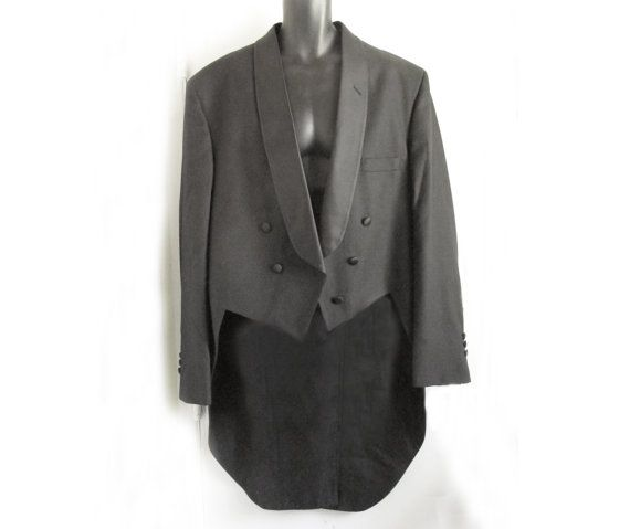 LARGE 52R tuxedo TAILS / Black Tailcoat / Mourning by fifisfinds