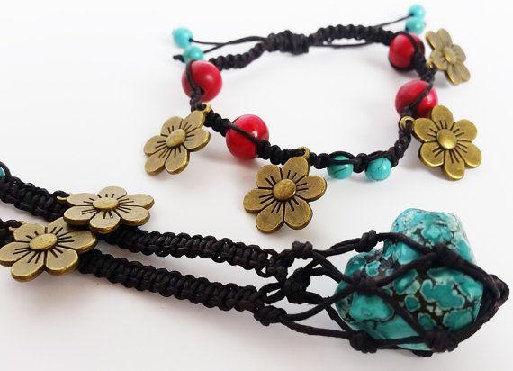 Macrame crystal necklace and bracelet. Turquoise by totesBOHO