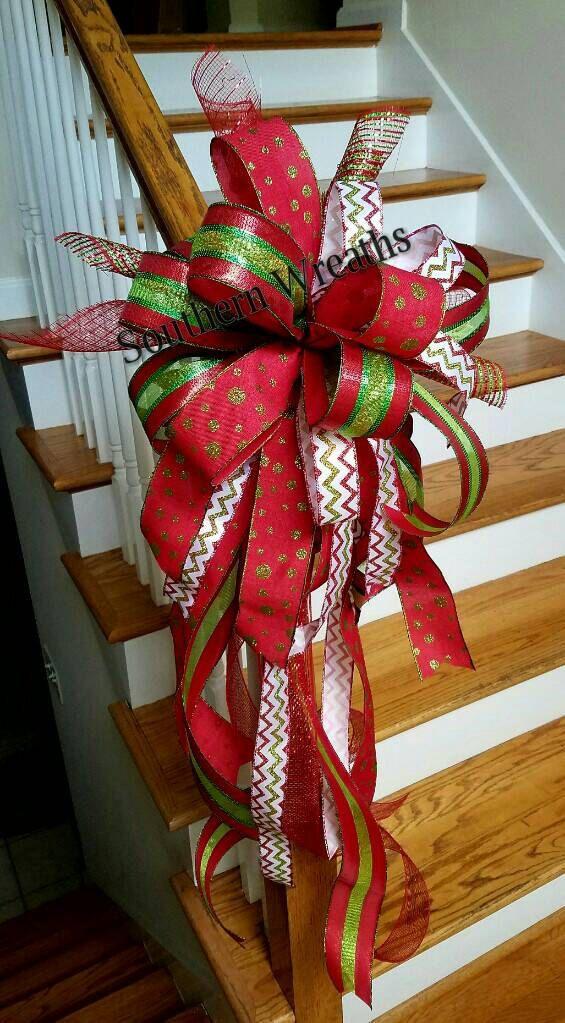 Arbre de Noël rouge Topper, arc de grand arbre, vacances arbre Topper ~ Noël noeud, noeud boîte aux lettres ~ maille spirales arbre Topper