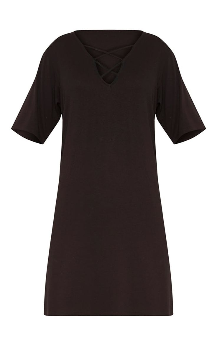 Black t shirt back and front plain - Black Jersey Cross Front Oversized T Shirt Dressslay All Day In This Cross Front Oversized T
