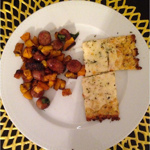 chicken sausage hash & cauliflower cheese bread, best gluten free dinner I've ever had