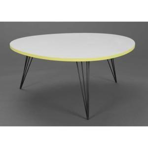 TABLE BASSE RONDE BLANC ET JAUNE