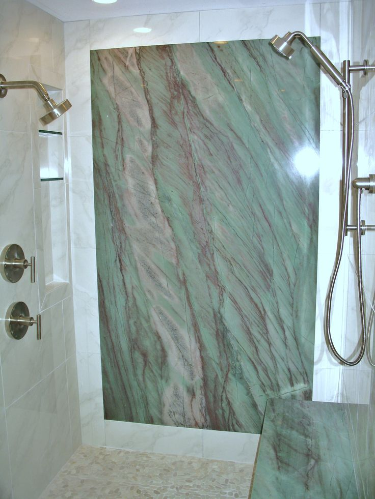 Stunning Shower With Granite Slab Wall