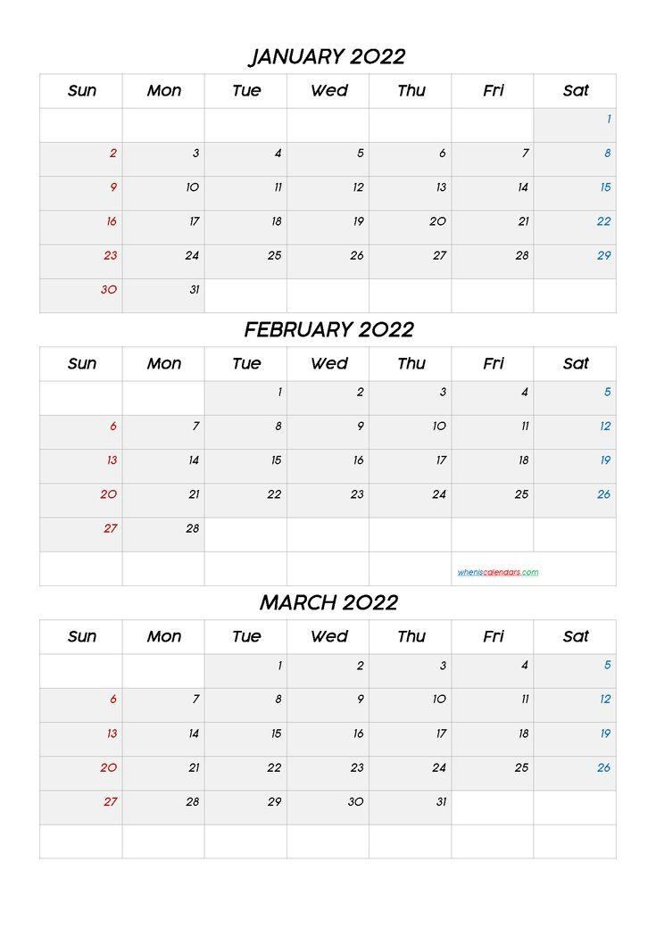 January February March 2022 Calendar Printable Free Q1 Q2 Q3 Q4 Calendar Printables Free Calendar Template Calendar Template