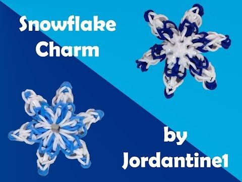Rainbow Loom/Monster Tail - SNOWFLAKE Charm. Designed and and loomed by jordantine1. Click photo for YouTube tutorial. 09/15/14.
