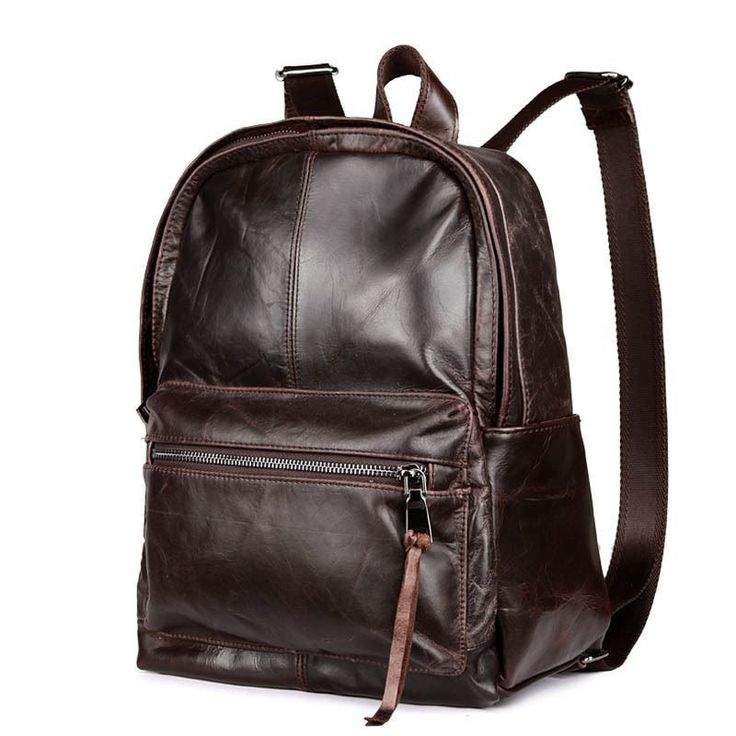 Men Vintage Style Backpack Soft Genuine Leather Casual School Laptop Travel Bag