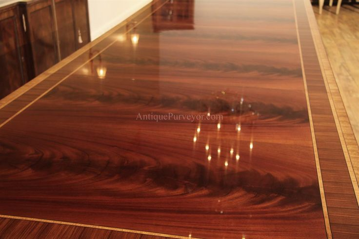Extra Large 16 Foot Triple Pedestal Mahogany Dining Table